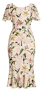 Dolce & Gabbana Women's Lily Print Flutter Sheath Dress
