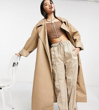 Collusion longline faux leather coat in ecru