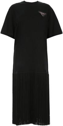 Prada Fringed Hem T-Shirt Dress
