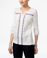 Style&Co. Style & Co Petite Embroidered Crochet Top, Only at Macy's