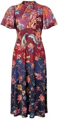 Monsoon Laura Print Tea Midi Dress - Multi