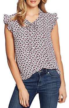 CeCe by Cynthia Steffe Ditsy Floral Ruffle Top