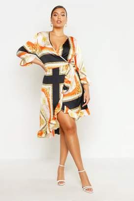 boohoo Plus Satin Chain Print Ruffle Wrap Dress