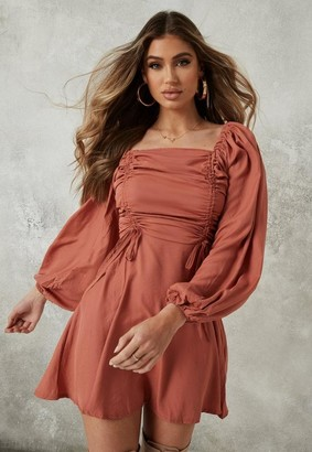 Missguided Rust Ruched Bust Aline Dress