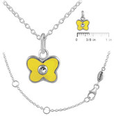 Ice 12-18 In Kids' Silver April Birthstone Butterfly Necklace For Girls