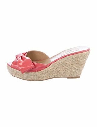 Valentino Patent Leather Espadrille Wedges Pink