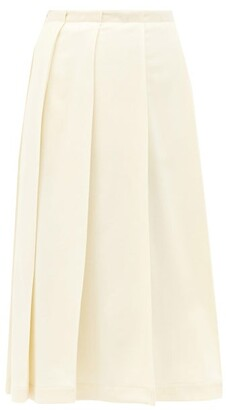 Jil Sander Pleated Wool-blend Midi Skirt - Ivory