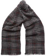 Brunello Cucinelli Checked Cashmere-Blend Scarf