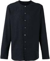 Closed collarless shirt - men - Cotton/Linen/Flax - L