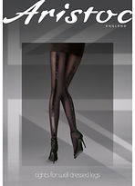 Aristoc 10 Denier Velvet Backseam Tights, Black