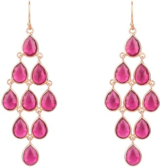 Latelita Erviola Gemstone Cascade Earring Rose Gold Pink Tourmaline