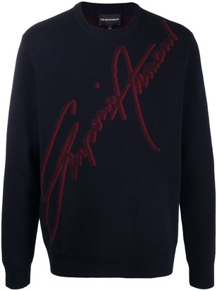 Emporio Armani Intarsia Logo Knit Jumper