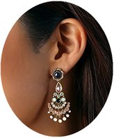 Line & Dot Dot & Line antique bronze crystal pave hollow vintage chandelier earrings