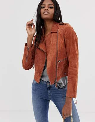 Asos Design DESIGN suede biker jacket-Brown