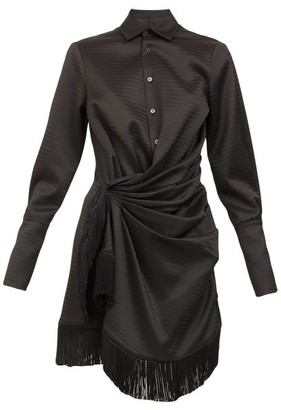 ATTICO Fringed Draped Jacquard Mini Shirt Dress - Black