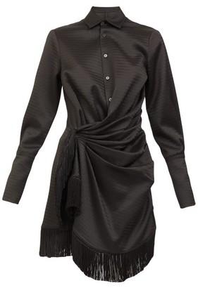 ATTICO Tassel-trim Gathered Satin Mini Shirt Dress - Black