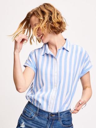 Old Navy Relaxed Vertical-Stripe Cap-Sleeve Shirt for Women