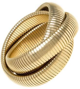 Janis Savitt High Polished Gold Large Triple Cobra Bracelet