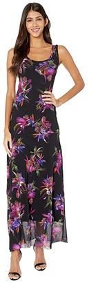 Fuzzi Sleeveless Tank Uccello Del Paradiso Print Dress (Nero) Women's Dress