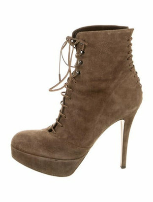 Gianvito Rossi Suede Leather Trim Embellishment Lace-Up Boots Brown