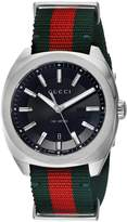Gucci Men's Swiss Quartz Stainless Steel and Nylon Dress Watch, Color:Green (Model: YA142305)