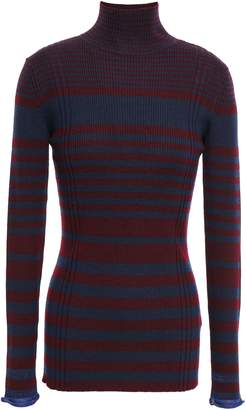 Victoria Victoria Beckham Victoria, Victoria Beckham Striped Ribbed Wool-blend Turtleneck Sweater