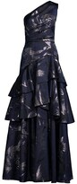 Thumbnail for your product : Aidan Mattox One-Shoulder Tiered Ballgown