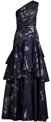 Aidan Mattox One-Shoulder Tiered Ballgown