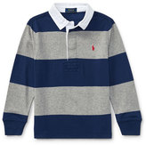 Ralph Lauren Jersey Rugby Striped Polo, Blue/Gray, Size 5-7