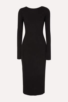 The Range - Framed Open-back Ribbed-knit Midi Dress - Black