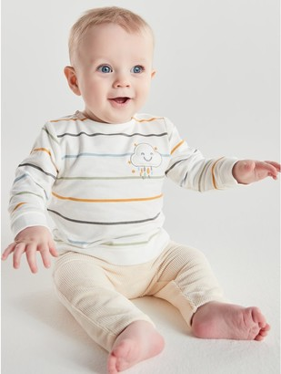 M&Co Striped sweatshirt and velour joggers set (Newborn-12mths)