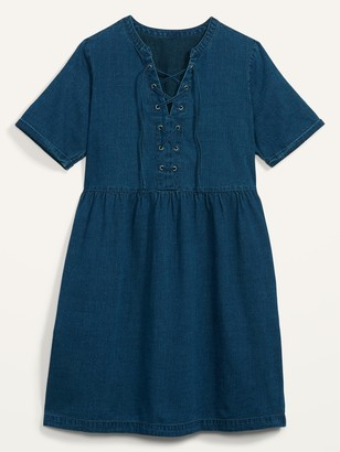 Old Navy Lace-Up Medium-Wash Jean Shift Dress for Women