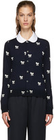 Comme des Garcons Navy & White Bows Cardigan