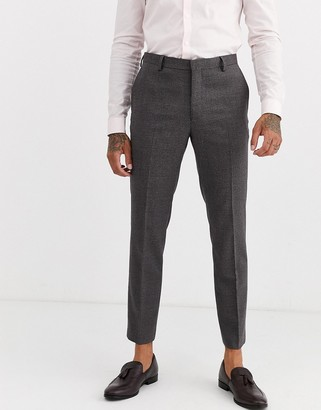 Burton Menswear skinny suit trousers in burgundy hounds tooth check-Red