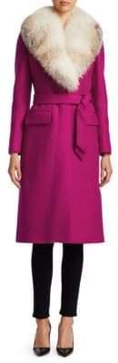 Roberto Cavalli Long-Sleeve Fox-Fur Trim Wool Coat