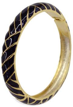 Cinder & Charm Black Herringbone Bangle