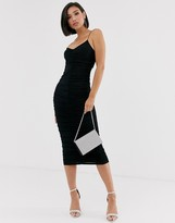 Asos Design DESIGN going out ruched strappy midi dress in black