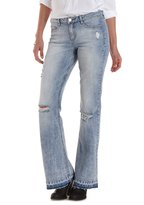 Charlotte Russe Refuge Flare Frayed-Hem Destroyed Jeans