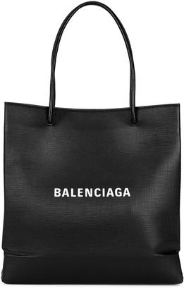 Balenciaga Shopping black logo leather tote