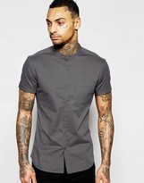 Asos Skinny Shirt with Grandad Collar in Charcoal Twill With Short Sleeves
