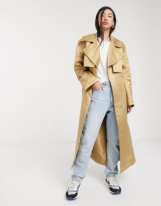 Asos DESIGN strong shoulder trench coat in stone