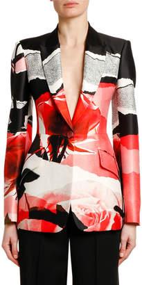 Alexander McQueen Torn Rose Collage Wool-Silk Blazer