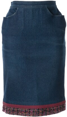 Chanel Pre Owned Tweed Detail Denim Skirt