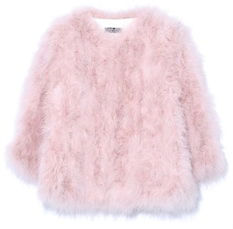 Yves Salomon Feather Jacket in Bouton de Rose