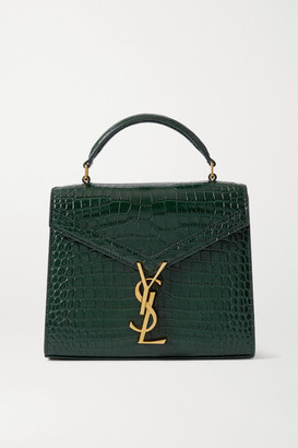 Saint Laurent Cassandra Mini Croc-effect Leather Tote - Green