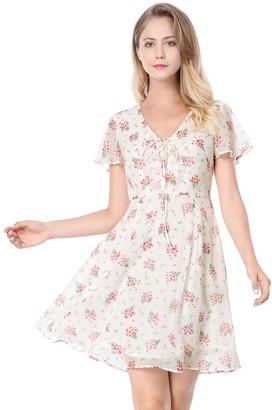 Allegra K Women's Floral Flouncing Sleeve A-line Lace-up V-Neck Chiffon Dress White XL