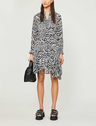 AllSaints Martina zebra-print chiffon mini dress