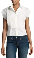 Rag & Bone Stevie Short-Sleeve Bib Shirt, Bright White