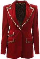 Dolce & Gabbana Velvet Blazer With Animalier Hems
