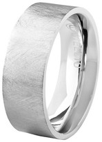 Crucible Men's Crucible Stainless Steel Brushed Finished Flat Ring (8mm) - Silver